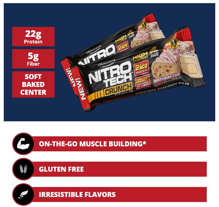 MuscleTech - Nitro-Tech Crunch Bar - 1 5