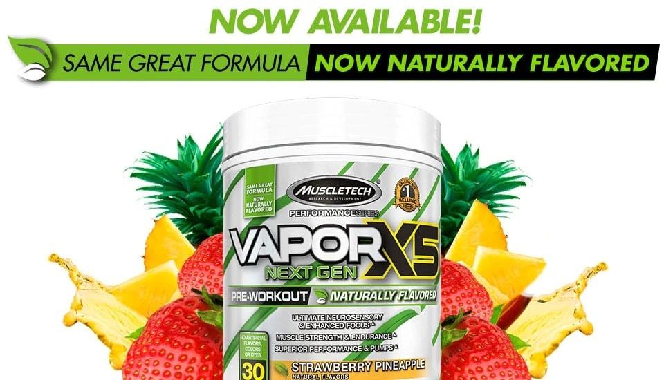 MuscleTech - VaporX5 Naturally (30 lần dùng) - callout naturallyflavored