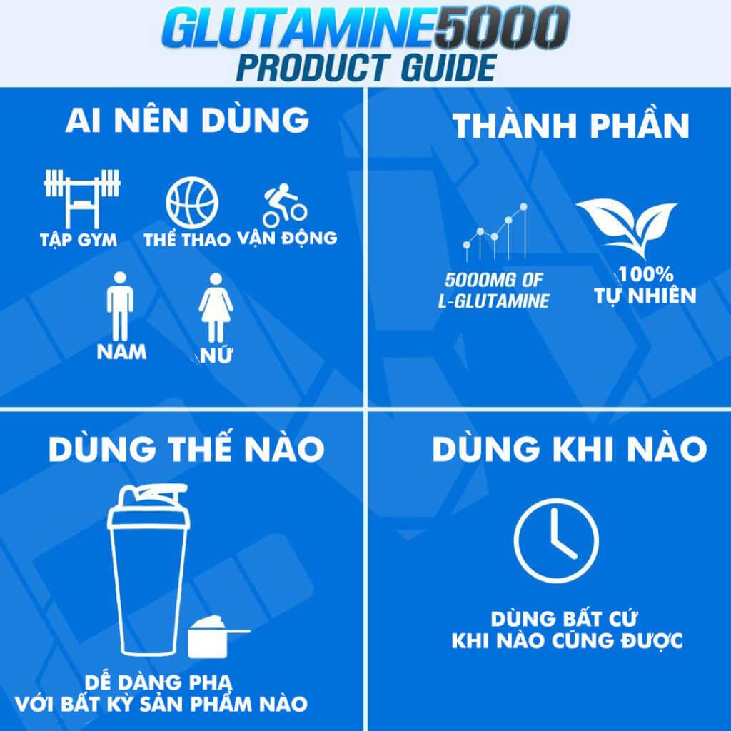 EVL - Glutamine 5000 (30 lần dùng) - evl glutamine 1