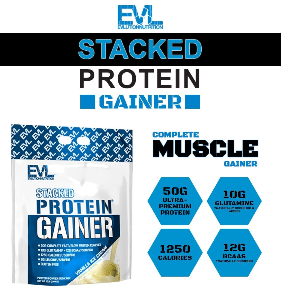 EVL - Stacked Protein Gainer (12 Lbs) - mo ta stack proteiin gainer