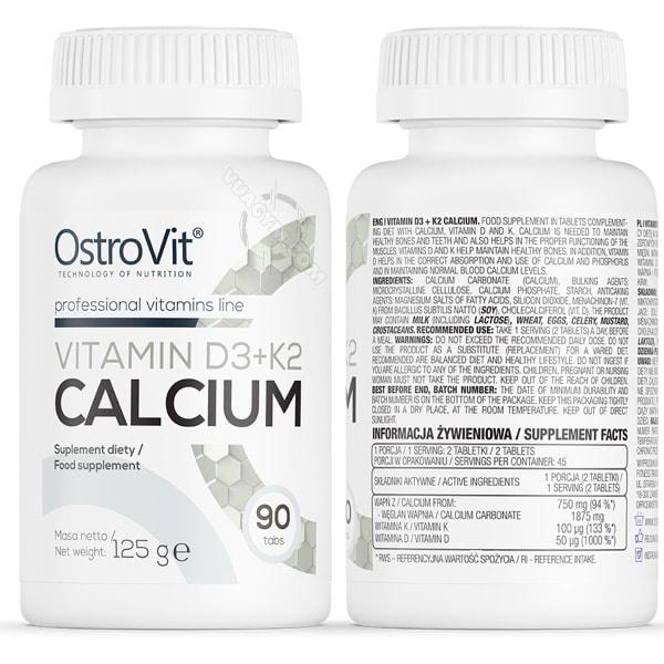 OstroVit - Vitamin D3 + K2 + Calcium (90 viên) - anh mieu taostrovit vitamin d3 k2 ca