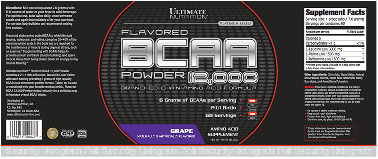Ultimate Nutrition - BCAA Powder 12,000 (Sample) - ultimate bcaa powder grape label