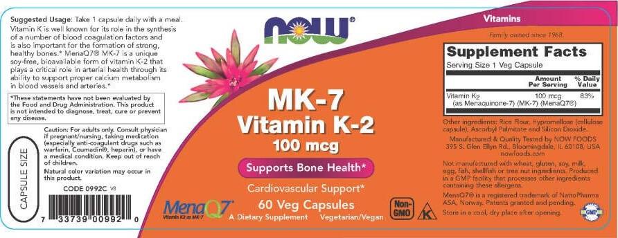 NOW - MK-7 Vitamin K-2 100 mcg (60 viên) - mk 2