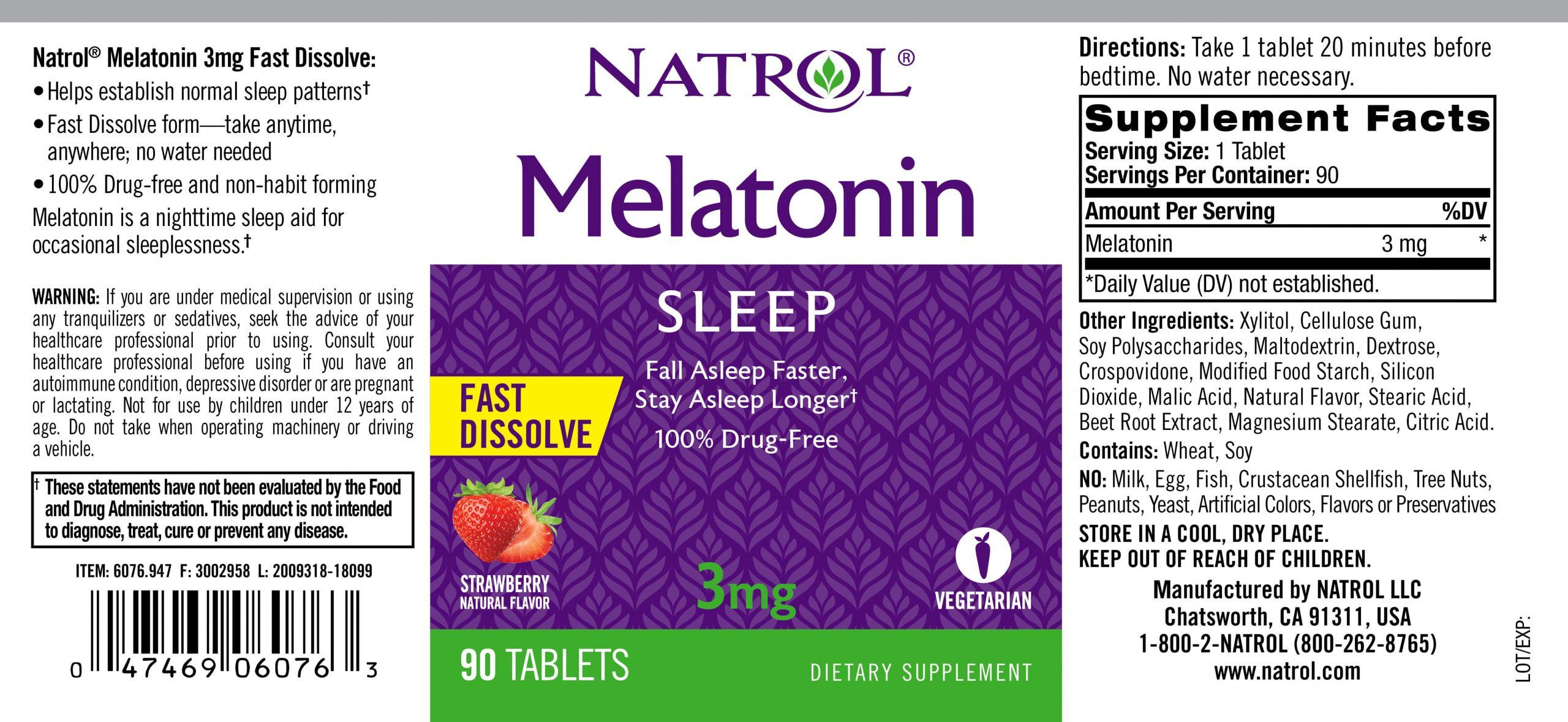NATROL - Melatonin Fast Dissolve 3mg (90 viên) - 14468 label lg scaled
