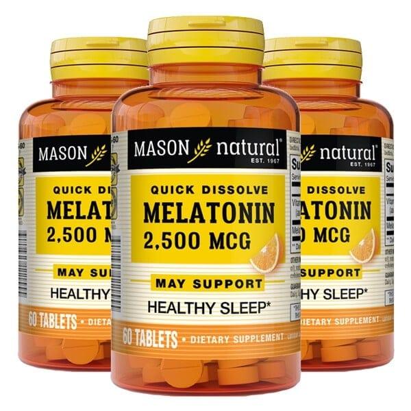 Mason Natural - Melatonin 2500mcg (60 viên) - 3 x 60 tablets mason natural qui