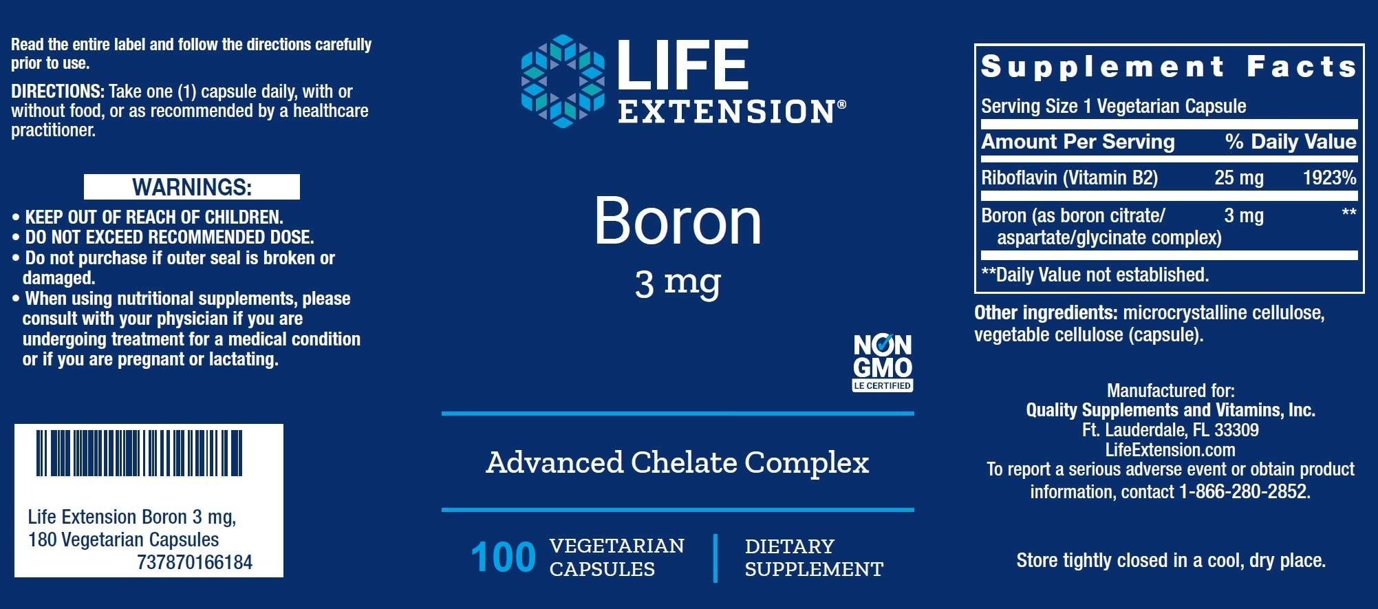 Life Extension - Boron 3 mg (100 viên) - 71cwmzyrbl