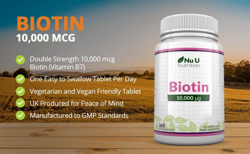 Nu U Nutrition - Biotin 10,000mcg (365 viên) - 8cd9c824 1a0b 4889 b85b 40382ce7