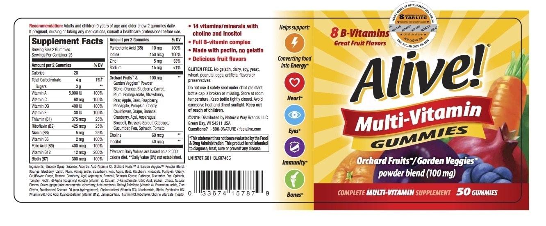 Nature's Way - Alive! Adult Multi-vitamin Gummies (50 viên) - alive multi vitamin label