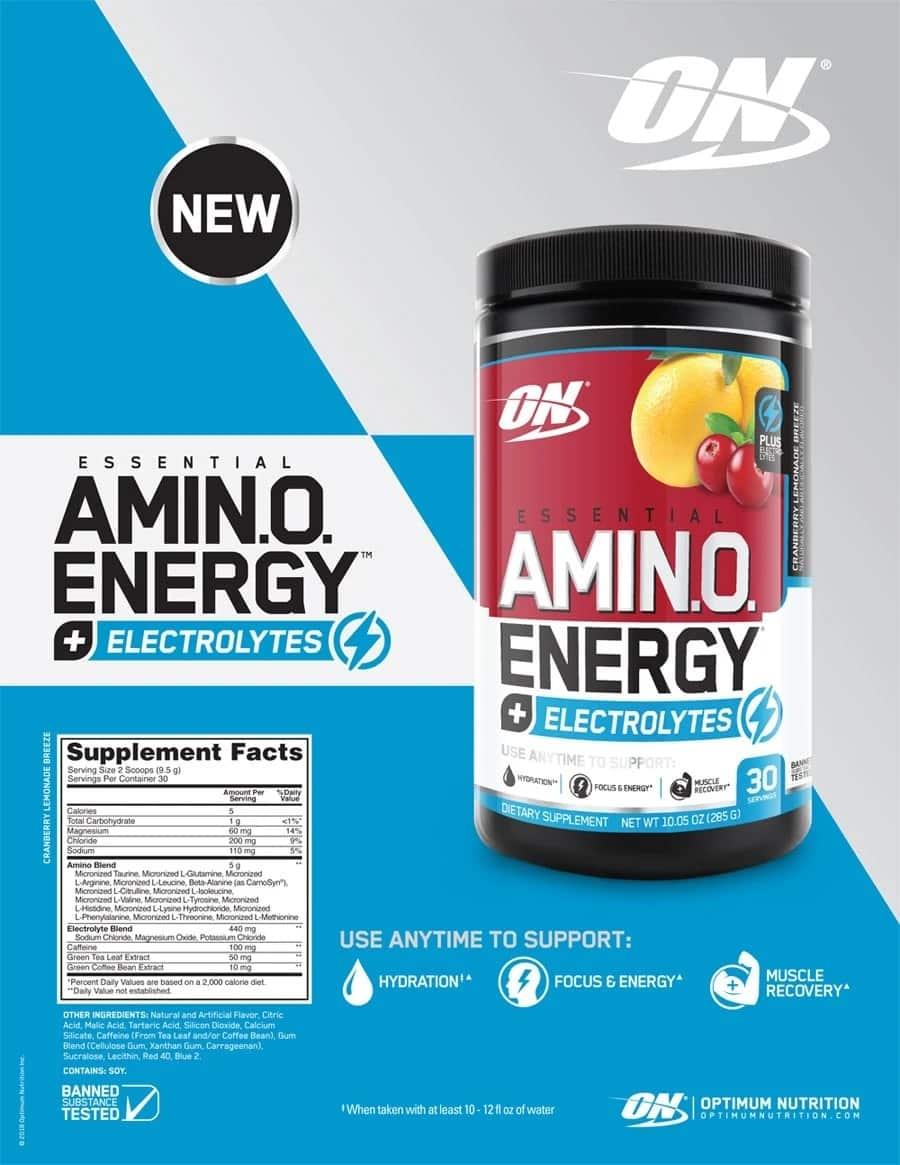 Optimum Nutrition - Essential Amino Energy (30 lần dùng) - amino energy plus electrolytes o