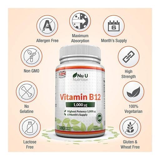 Nu U Nutrition - Vitamin B12 1,000mcg (180 viên) - do8n it r2jqfcuyjju1ubim09lebkyg